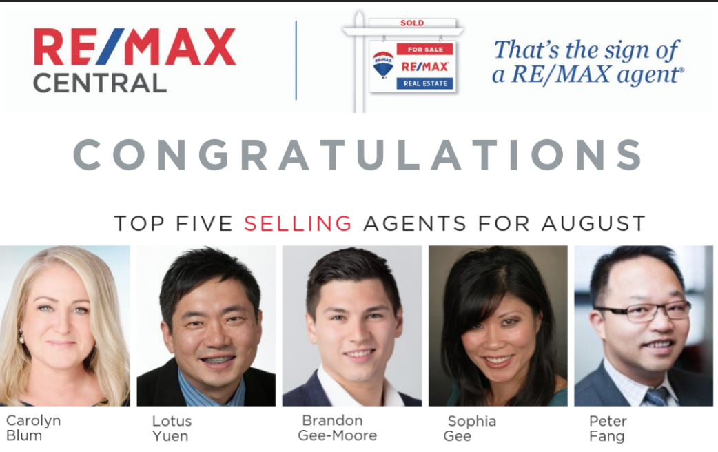 Top 5 Remax Selling Agents – Burnaby Metrotown REMAX Central Realty – Aug 2019