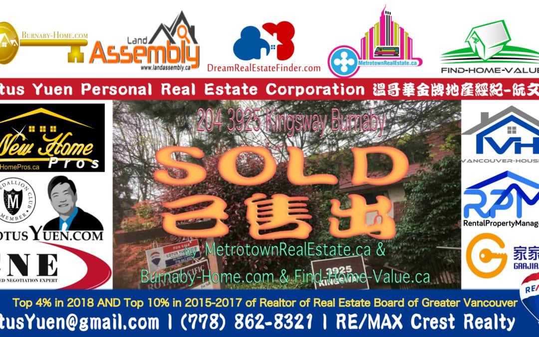 BURNABY Metrotown Condo SOLD – 204 3925 Kingsway, Burnaby