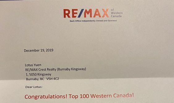 RE/MAX Top 100 Western Canada (Lotus Yuen PREC) Nov 2019