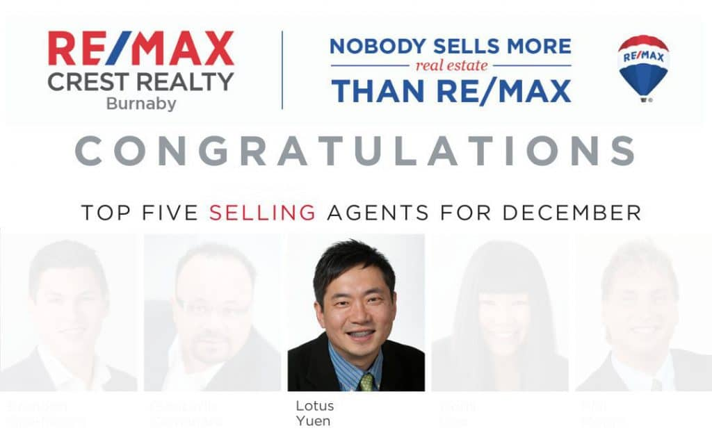 Top 5 Selling Realtor Dec 2019 (Selling Agents filter) with Lotus Yuen PREC