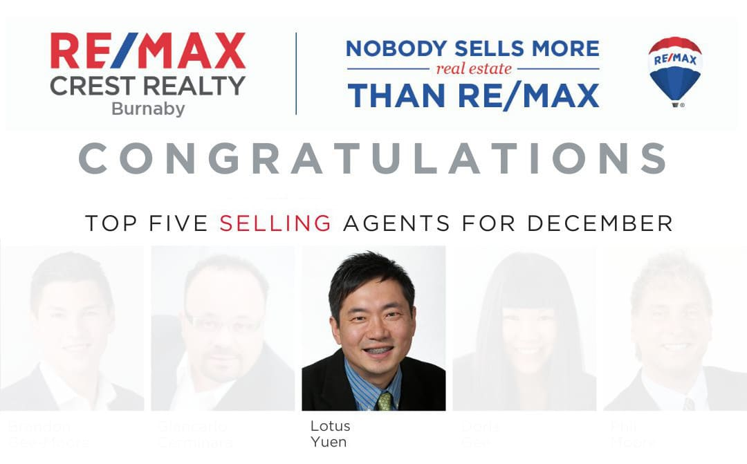 Top 5 Remax Selling Agents – Burnaby Metrotown REMAX Crest Realty – Dec 2019